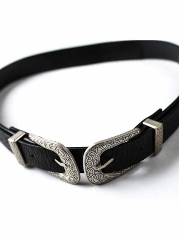 Double Clasp Buckle Pu Metal Waistband Women Belt