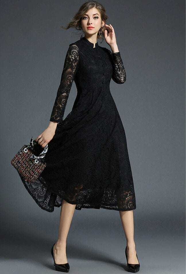 Stand Neck Long Sleeve Office Work Elegant Lace Dress