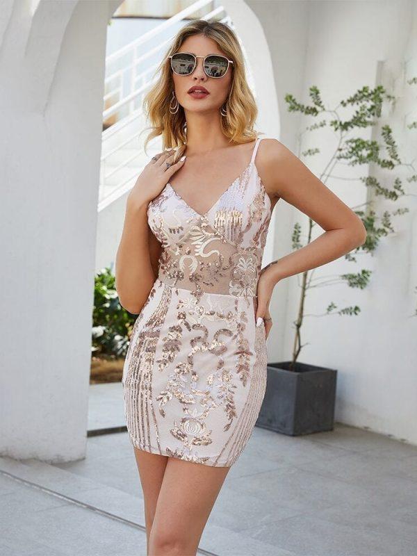 Elegant V Neck Gold Wine Red Bandage Sequin Dress