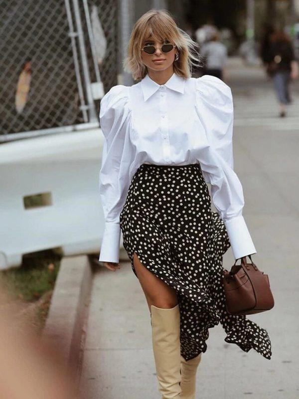 Elegant White Puff Sleeve Turn Down Collar Blouse Shirt