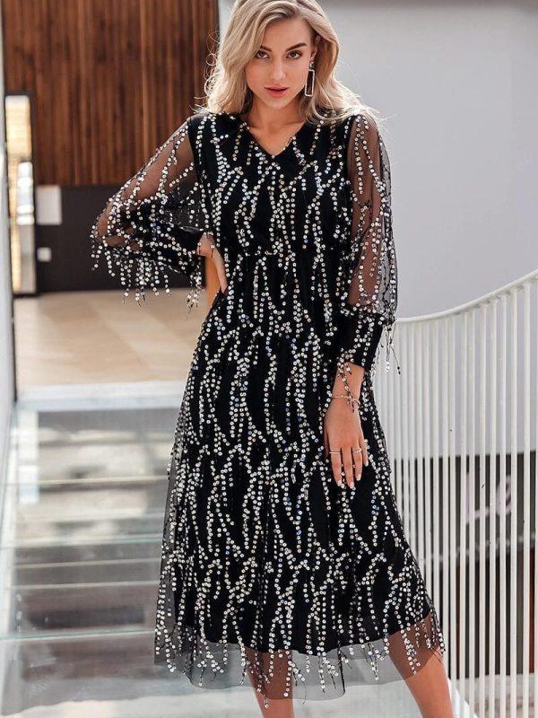 Black V-neck Long Sleeve Sequin Dress
