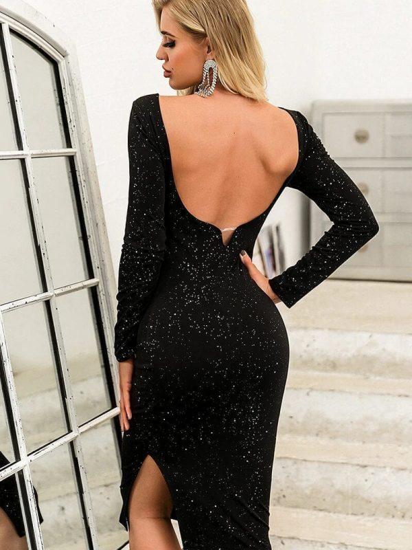 Elegant Black O-neck Long Sleeve Backless Sequin Midi Dress