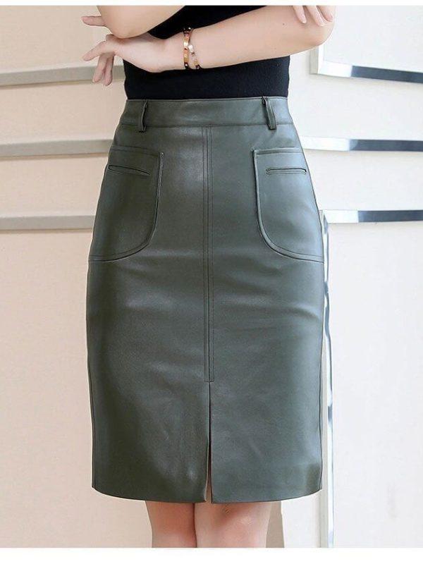 Green Leather High Waist Office Skirt