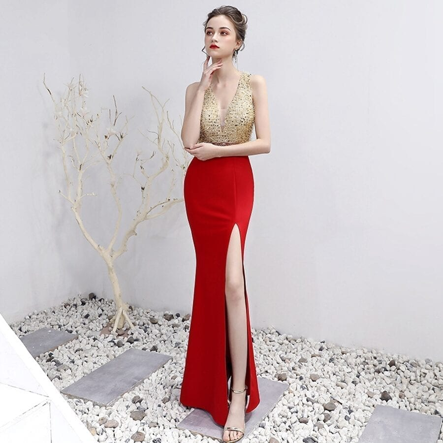 V-neck Beading Floor-length Mermaid Prom Dress