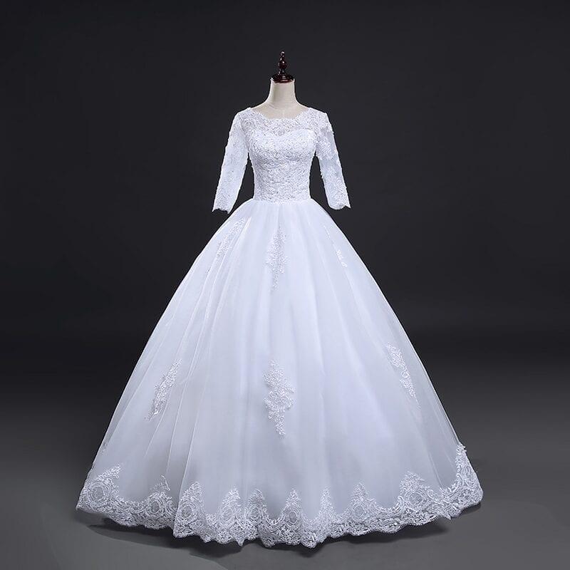 Vintage Lace Up Ball Wedding Dress