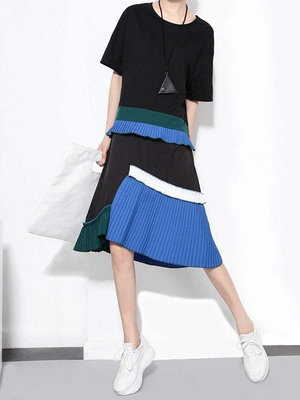 Short Sleeve Pleated Irregular Loose O-neck Dress