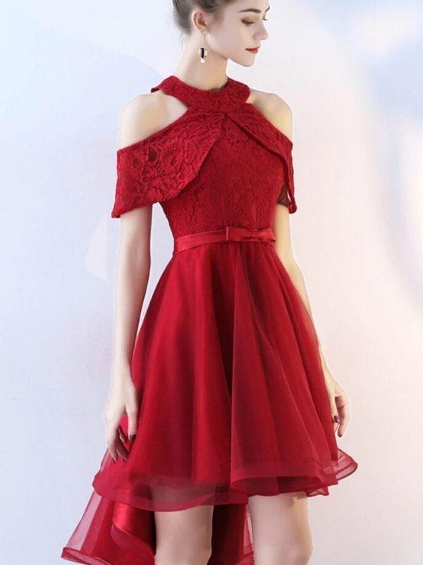 Burgundy Halter High Low Lace Evening Dress