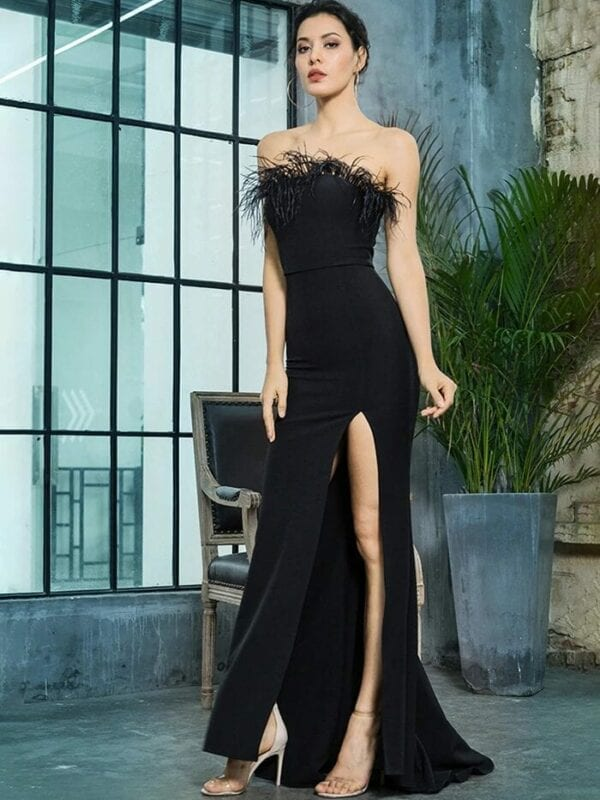 Black Strapless Cut Out Feather Long Dress