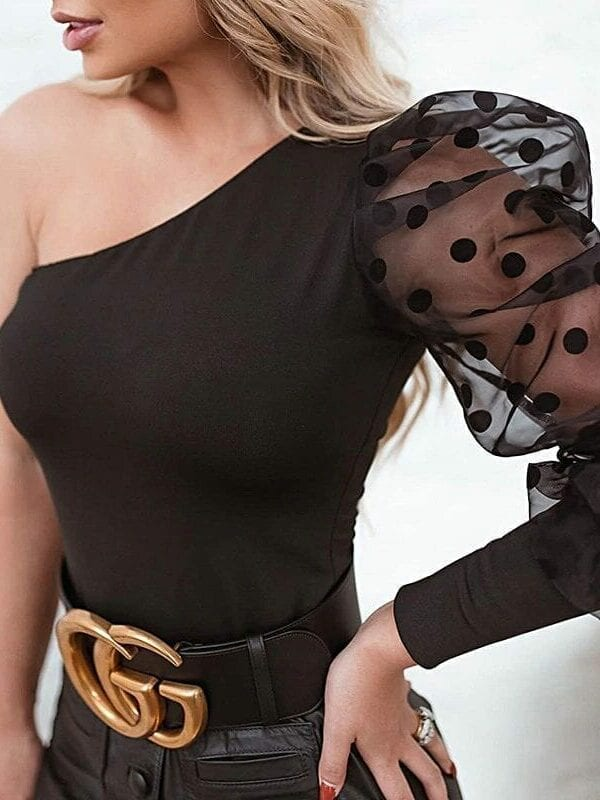 Black Mesh One Shoulder Polka Dot Top Tees