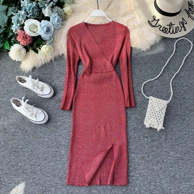 Elegant V Neck Knitted Sweater Office Dress
