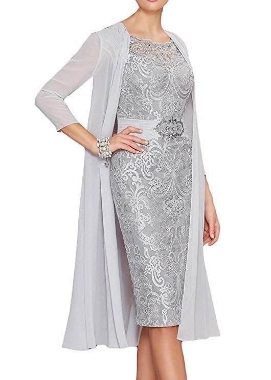 Elegant Sheath Chiffon Appliques Beaded Short Mother Of The Bride Dress With Jacket