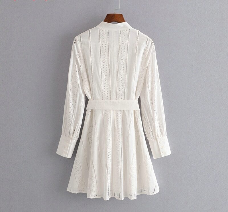 Embroidery Long Sleeve White Shirt Dress