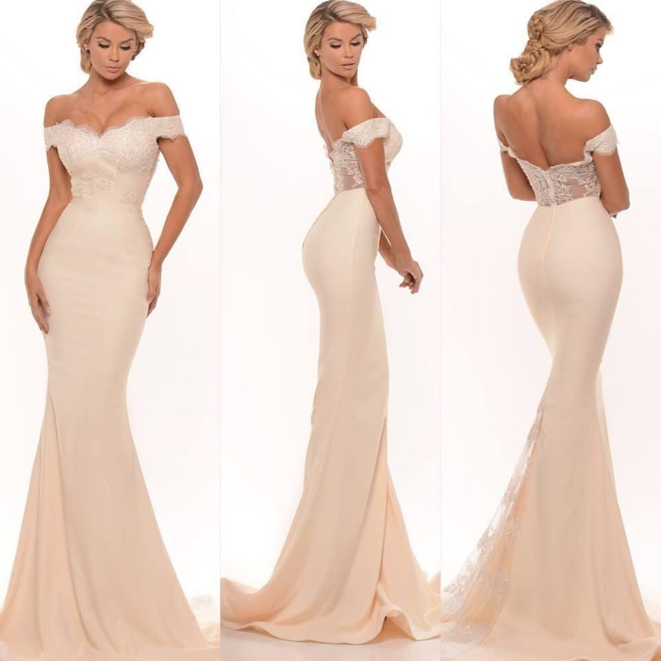 Mermaid Off Shoulder Lace Appliques Zipper Back Sweep Train Long Maid Of Honor Bridesmaid Dress