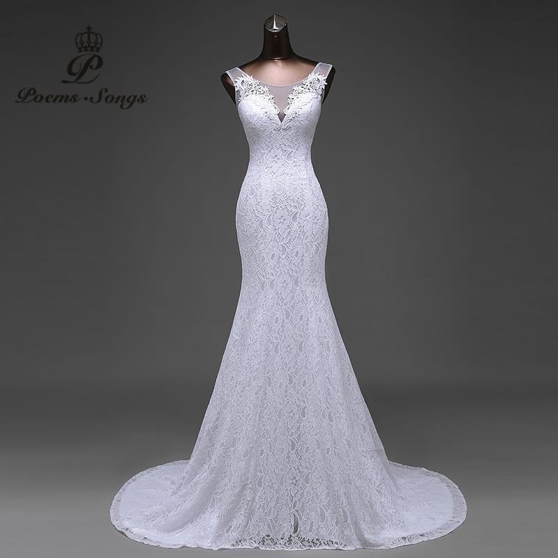 Elegant Lace Flowers Backless Mermaid Wedding Dress