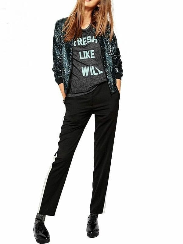 Sequined Loose Bomber Jacket