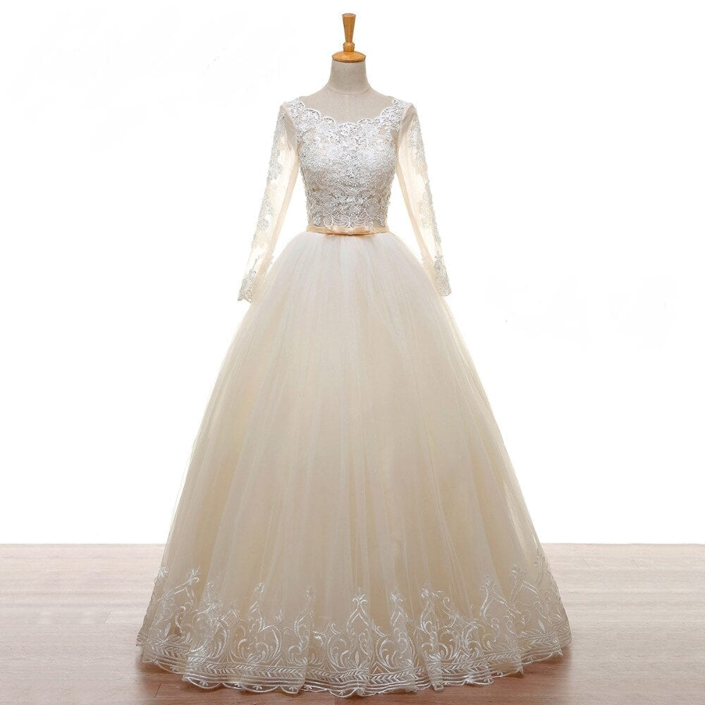 A-line Long Sleeves Beads Lace Tulle Champagne Backless Wedding Dress