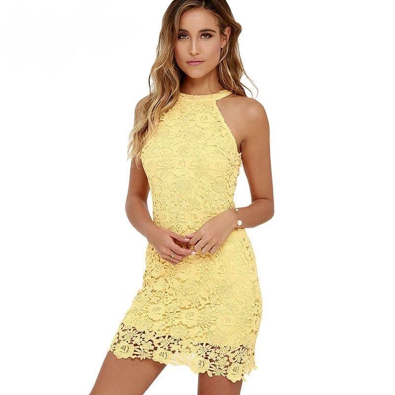 Elegant Halter Neck Sleeveless Sheath Bodycon Lace Dress