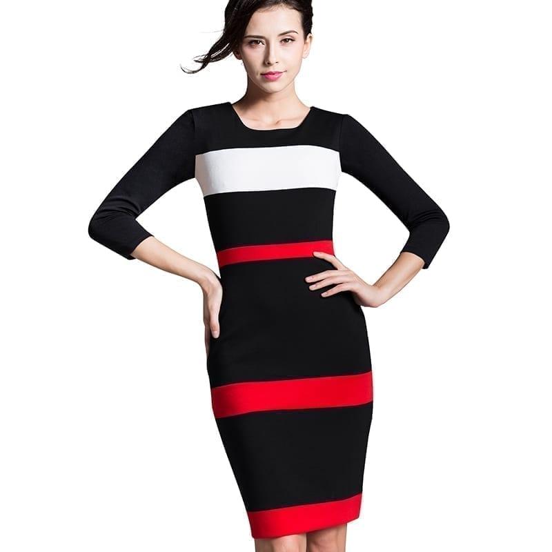 Sheath Patchwork Striped Elegant O-neck Bodycon Knee-length Office Dress