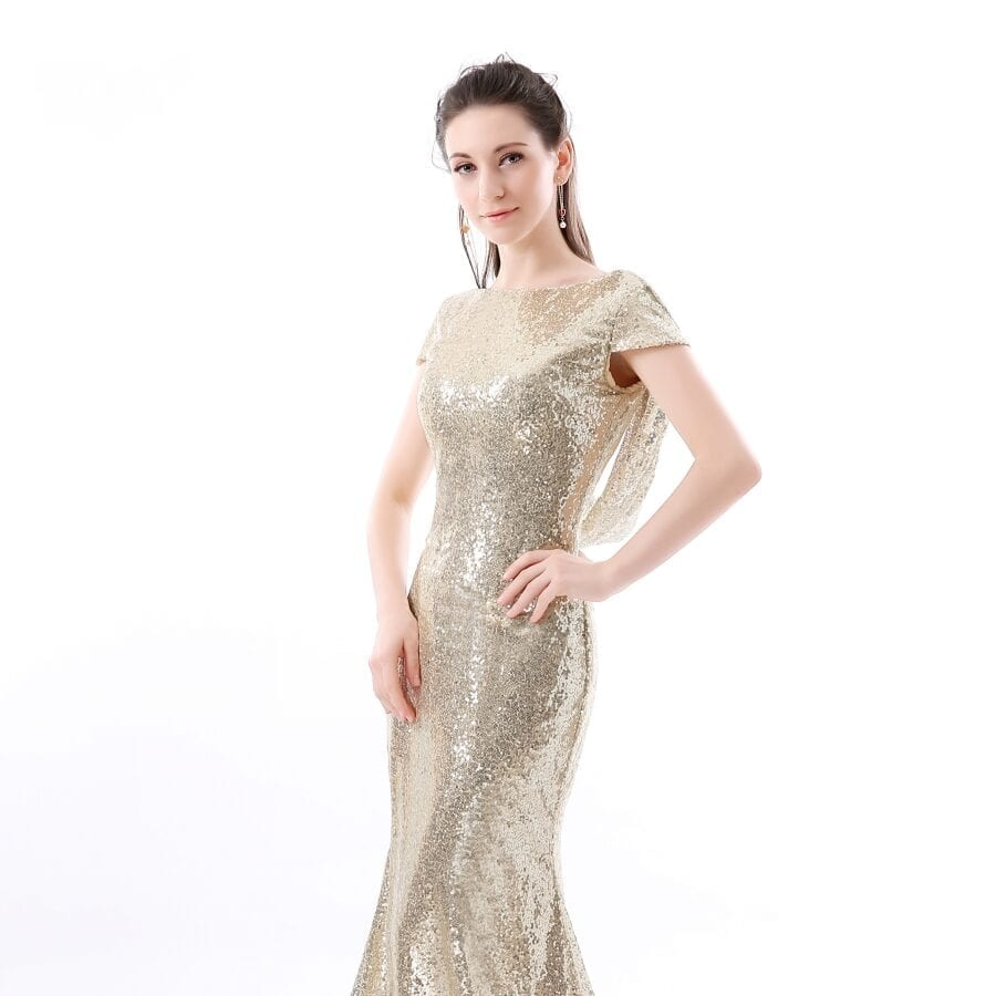 Champagne Sequin Long Bridesmaid Dress