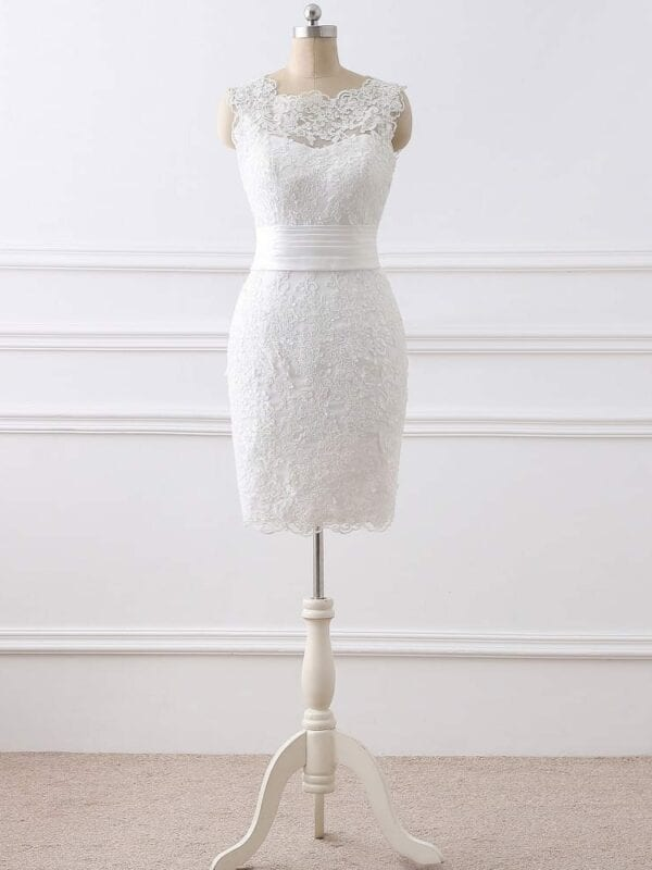 Elegant 2 In 1 Lace Wedding Dress Detachable Skirt High Neck Two Pieces A-line