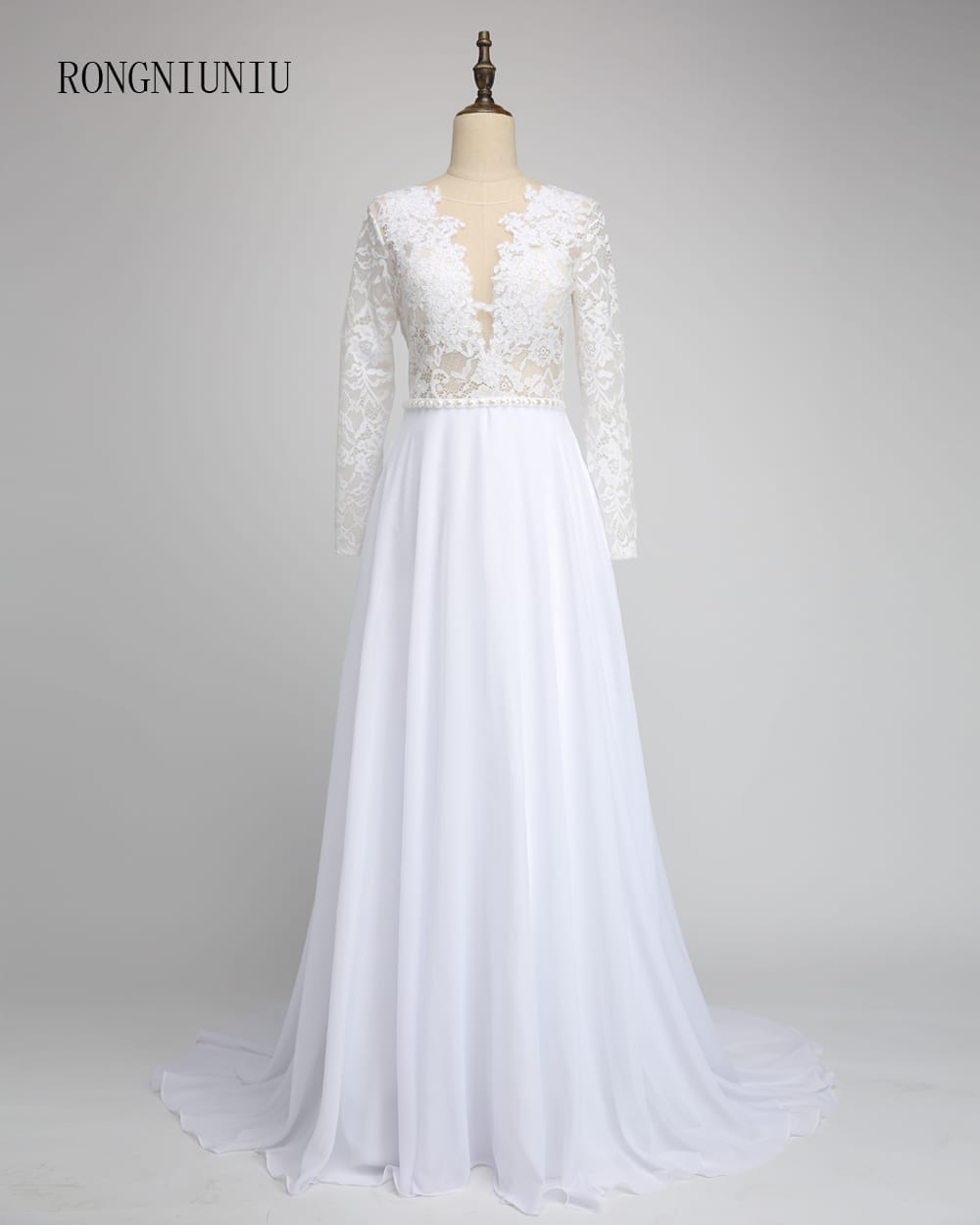 Deep v lace top long sleeve floor length chiffon beach for Long sleeve chiffon wedding dress