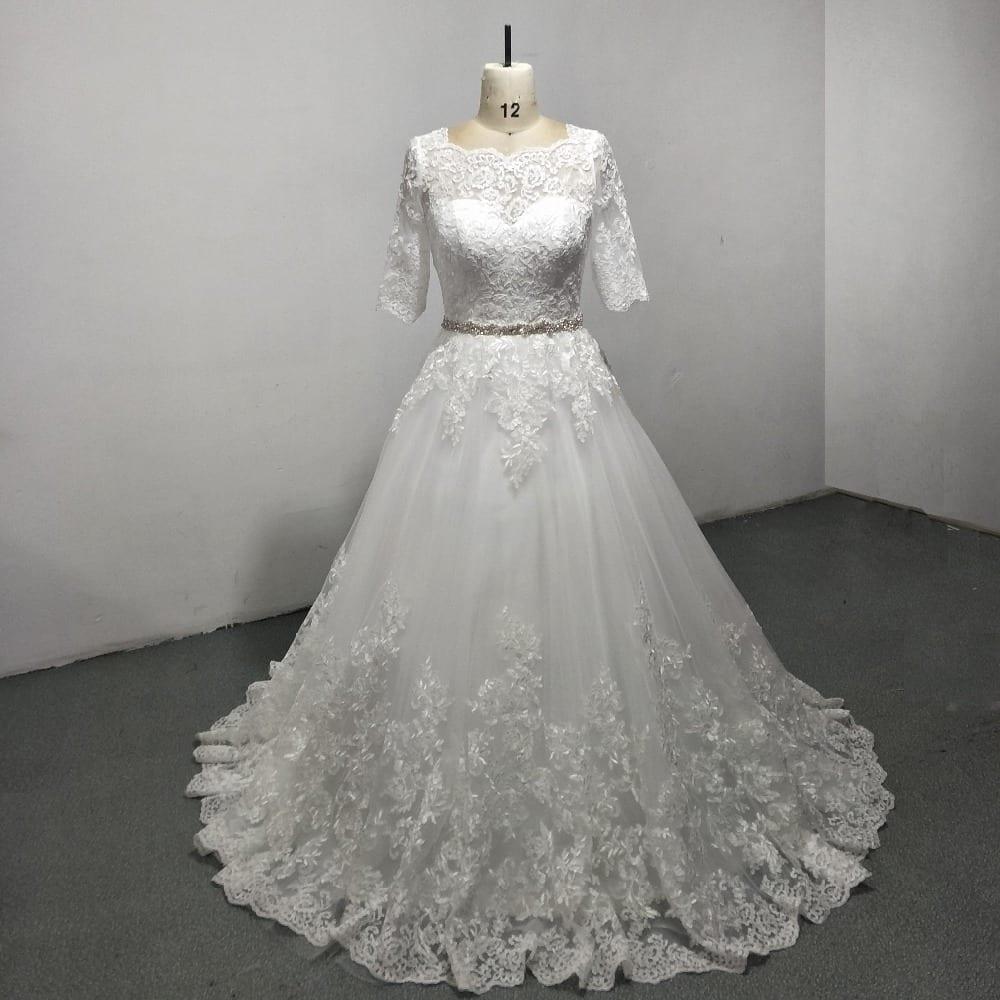Elegant a line lace beading floor length wedding dress for Floor length lace wedding dress