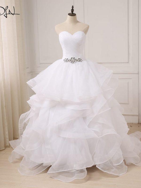 Sweetheart Sleeveless Zipepr Up Back Ruffles Organza Wedding Dress