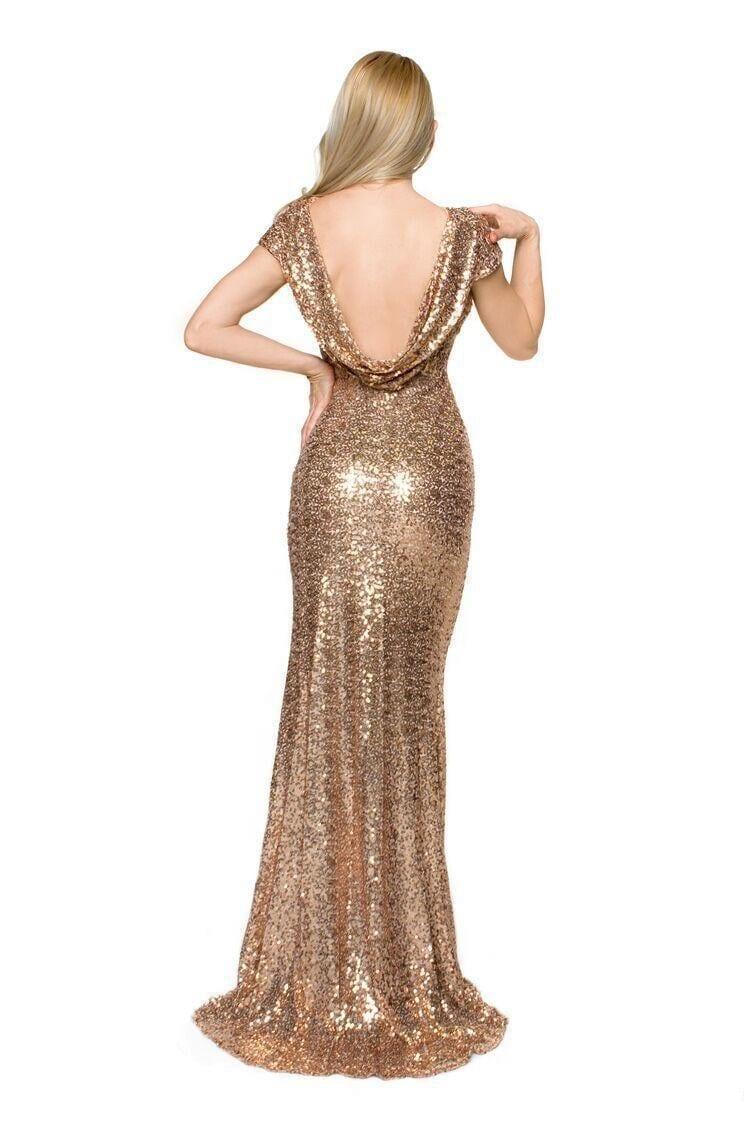 Gold champagne sequin long bridesmaid dress for Metallic bridesmaid dresses wedding