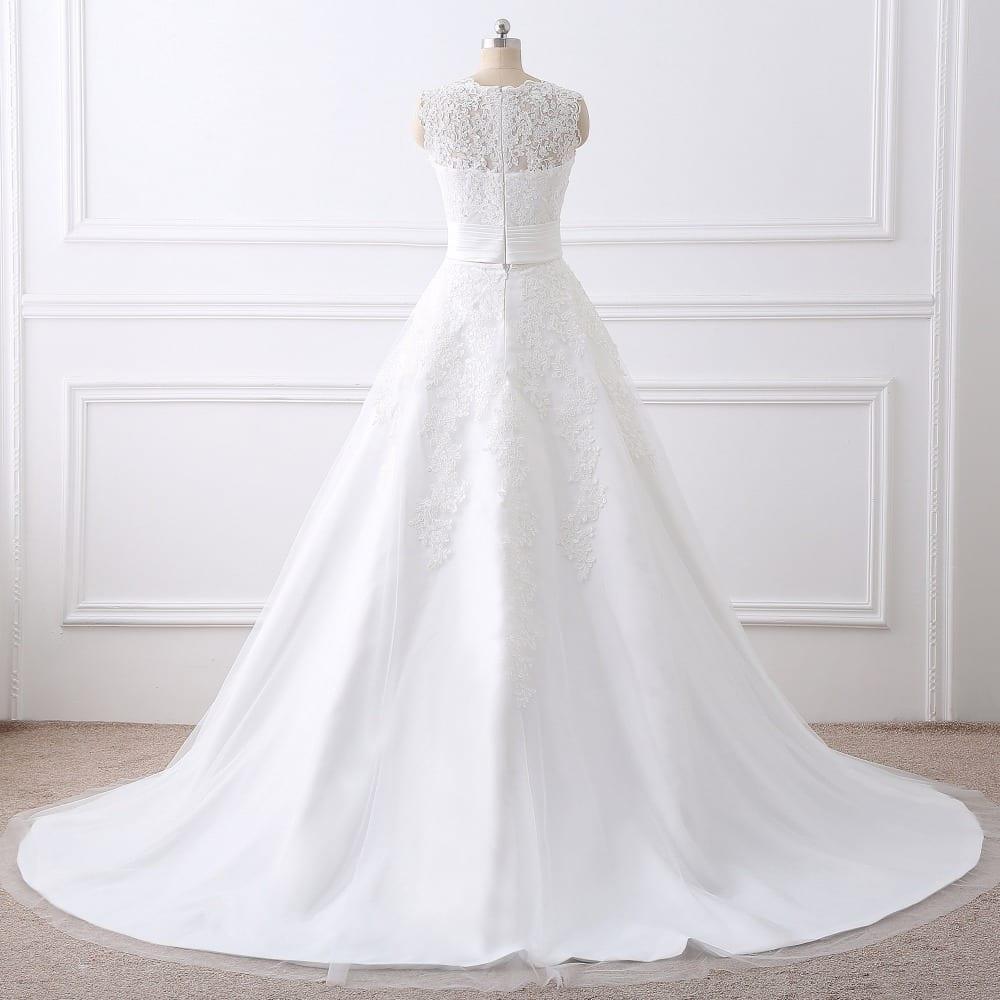 Elegant 2 in 1 lace wedding dress detachable skirt high for Wedding dresses 2 in 1