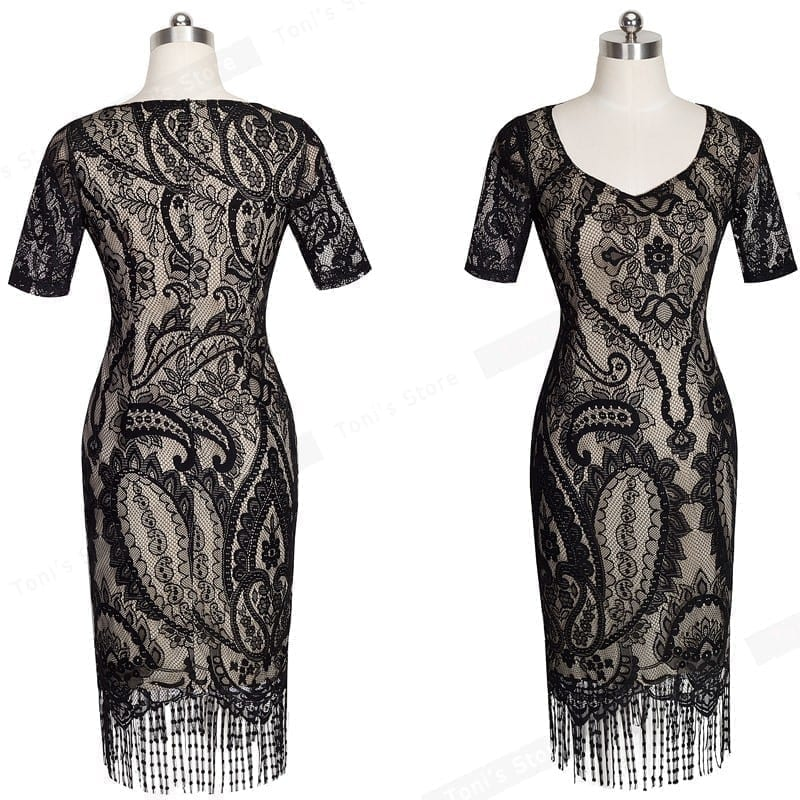 Lace Tassel V-neck Short Sleeve Zipper Pencil Vintage Dress