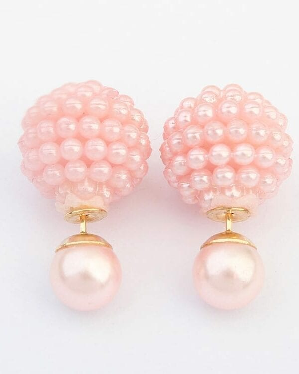 5 Colors Double Side Cute Charm Pearl Statement Ball Stud Earrings