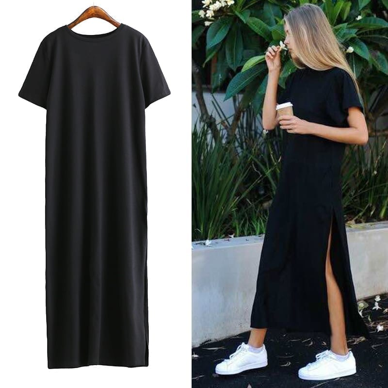 Side High Slit Short Sleeves Black Long T-shirt Women Dress