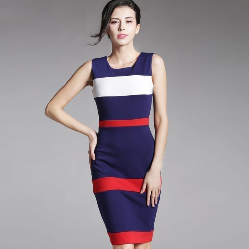 Sheath Patchwork Striped Elegant O-neck Bodycon Knee-length Office Dress
