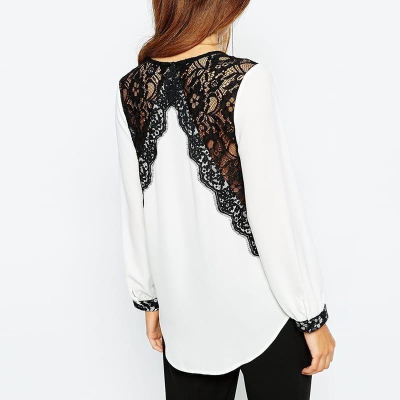 Lace Patchwork V-neck Long Sleeve Shirt Blouse