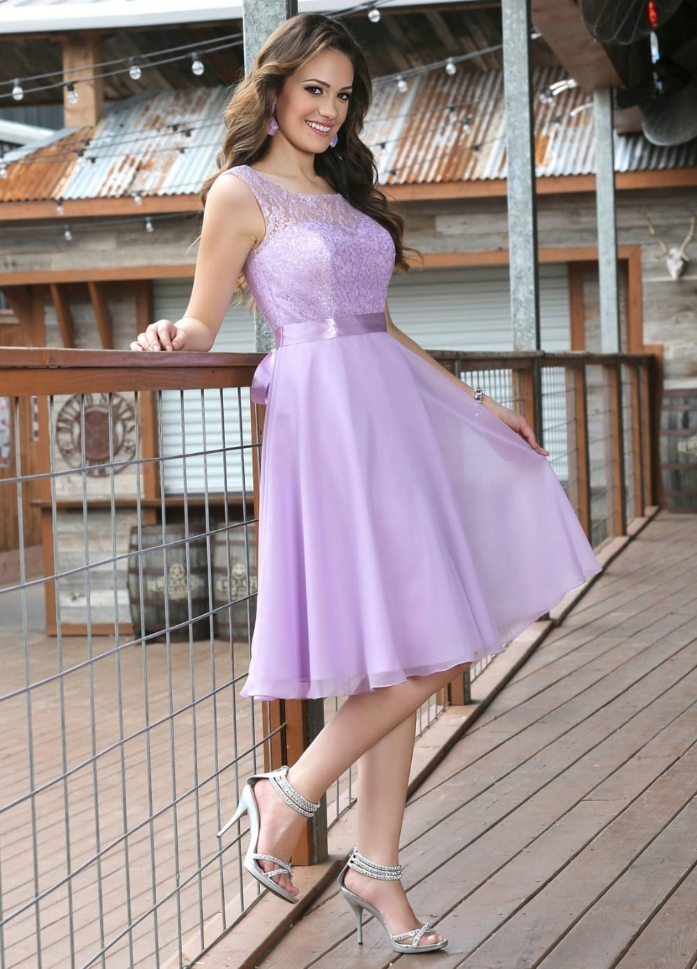 04f658126b0 Bow Sashes Light Purple Embroidery Lace Sleevesless Short Bridesmaid Dress