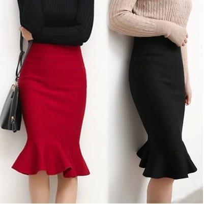 Elegant Knit Fishtail Skirt
