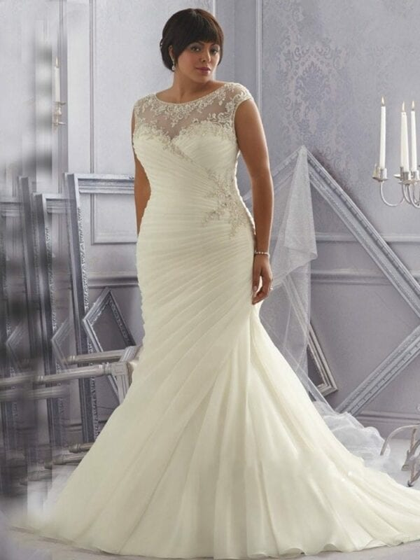 Ivory/white Crystal Beading Appliques Organza Mermaid Wedding Dress