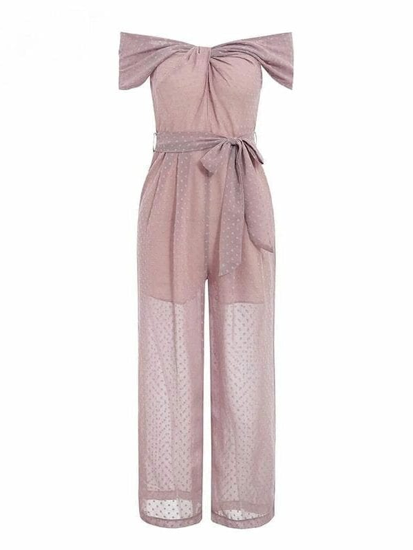 Elegant Pink Off Shoulder Twist Neck Office Jumpsuit