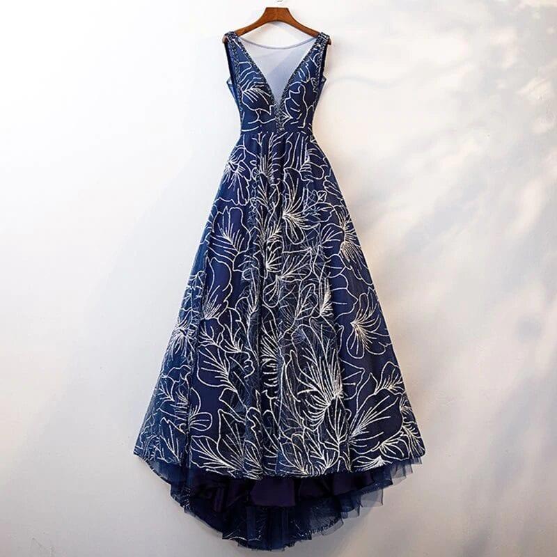 Elegant Dark Blue V Neck A Line Sleeveless Zipper Up Dress