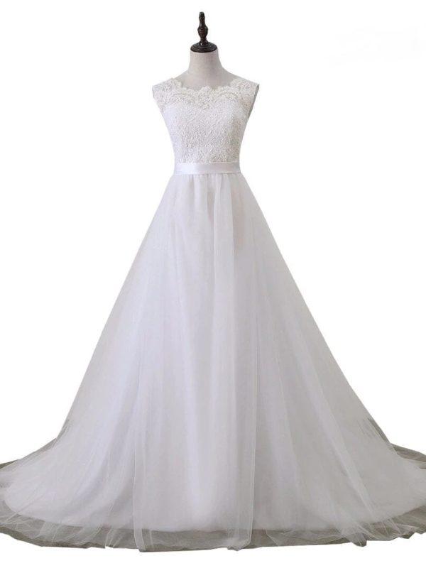 Romantic Scoop Neck A Line Lace Beach Wedding Dress