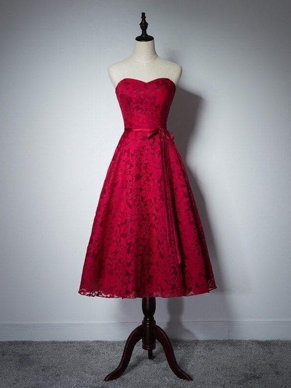 Lace Sweetheart A Line Tea Burgundy Maid Of Honor Bridesmaid Dress