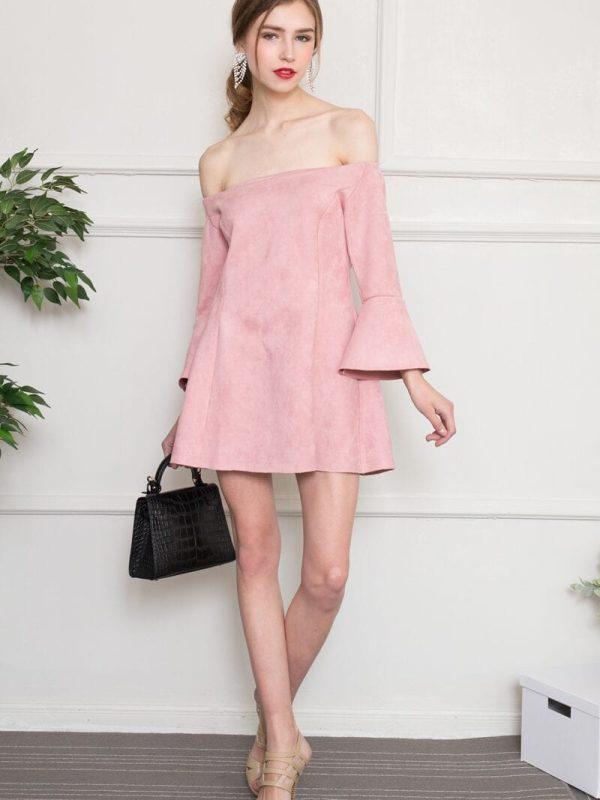 Slash Neck Off Shoulder Ruffles Sleeve Pink Suede Skater Dress