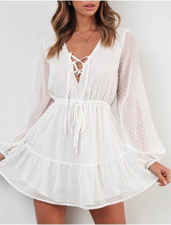 Elegant Ruffles Lace Up Long Sleeve White Mini Dress