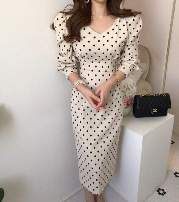 Vintage Polka Dot Print A-line Dress
