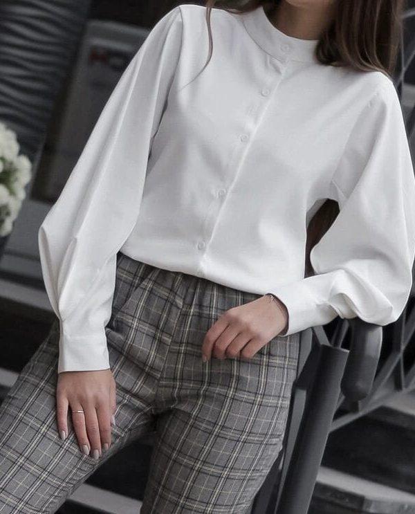 Vintage Lantern Sleeve Loose White Shirt