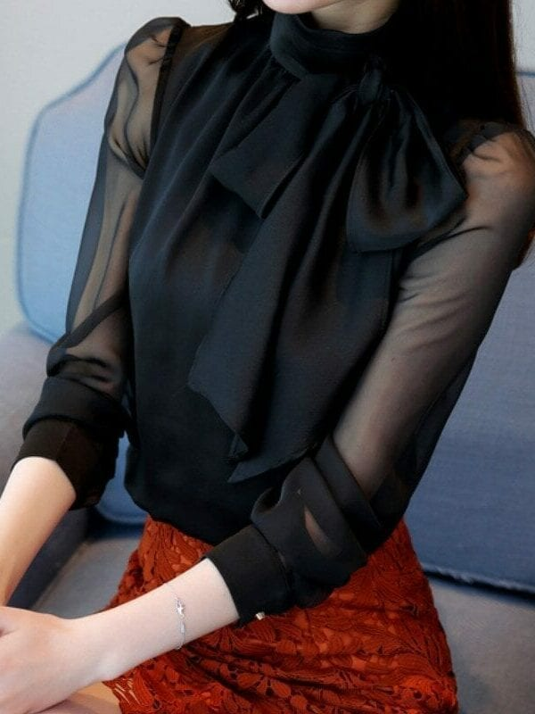 Long Sleeve Tie Bow Chiffon Turtleneck Blouse Shirt