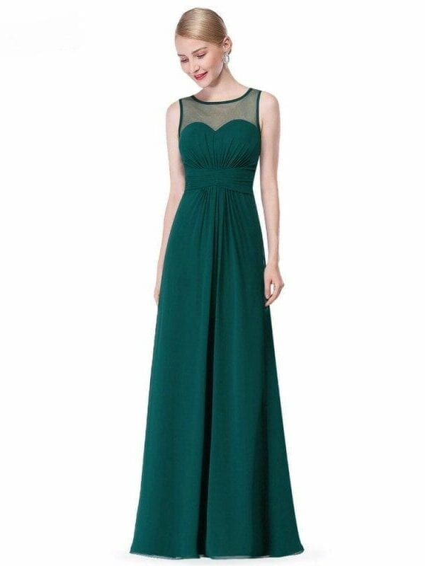 Elegant Sleeveless Long Chiffon A-line Bridesmaid Dress