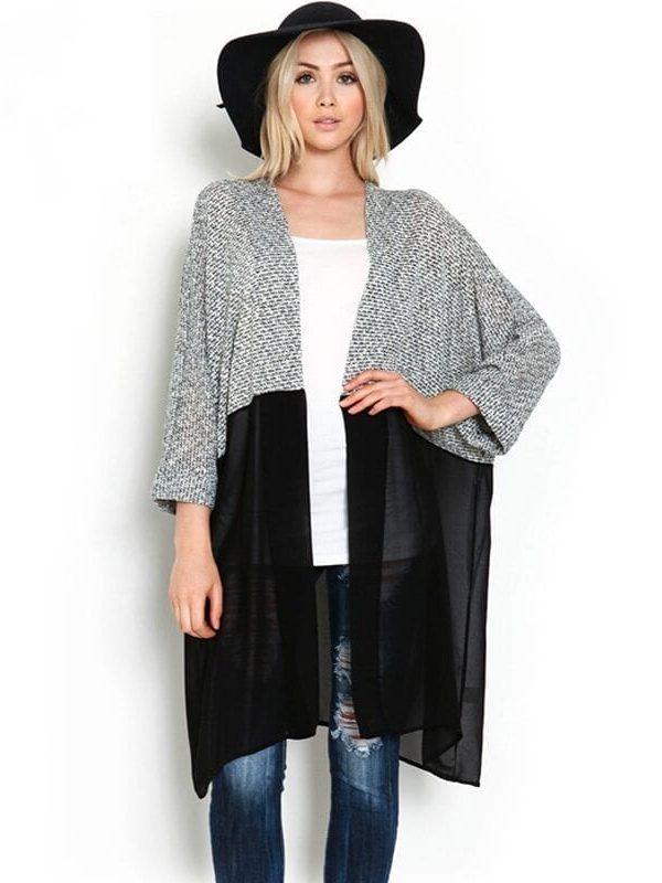 Long Casual Knitted Chiffon Kimono Cardigan Blouse Plus Size