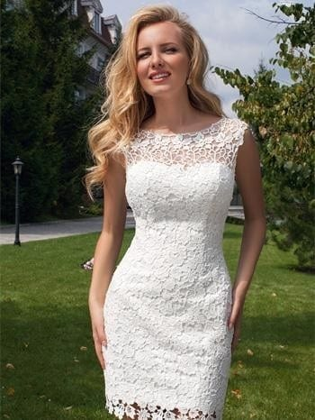 Short Lace Summer Wedding Dress With Attchable Skirt