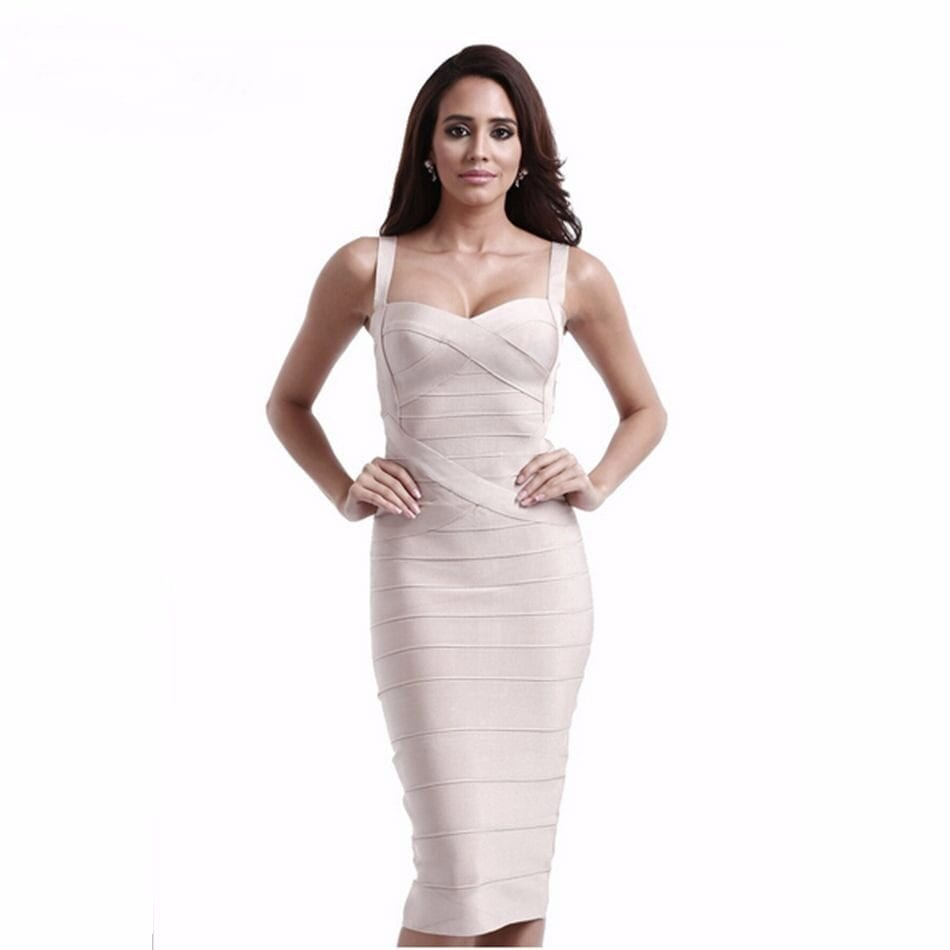 Spaghetti Straps Criss Cross Mid Calf Bodycon Bandage Dress